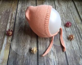 Organic cotton baby knit hat with drawstrings N/B