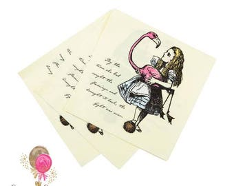 Truly Alice in Wonderland Napkins, pack of 20, Alice tea party, paper napkins, mad hatters tea party, white rabbit