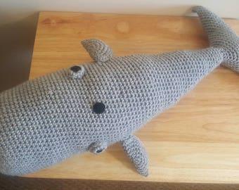 Handmade crochet stuffed whale