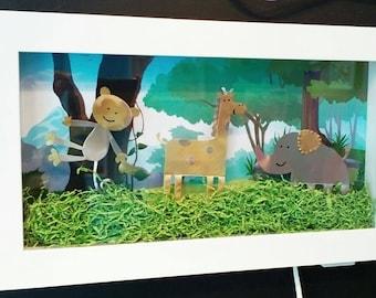 Jungle. Illuminated frame for kids with led lights