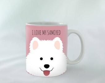 I Love my Samoyed Mug personalised   Different colours available   Custom name mugs   Dog Mug   Samoyed Gift