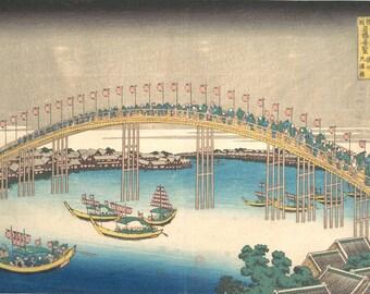 Bridge Tenma province Settsu by Hokusai.