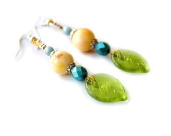 Yellow blue green earrings
