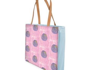 Beach Bag- Blue Anemone on Pink