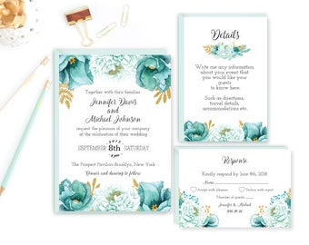 Printable Wedding Invitation, Mint Wedding Invitation, Printable Mint  Wedding, Gold Wedding, Mint