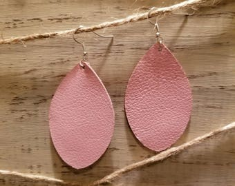 Light Pink Leather Earrings
