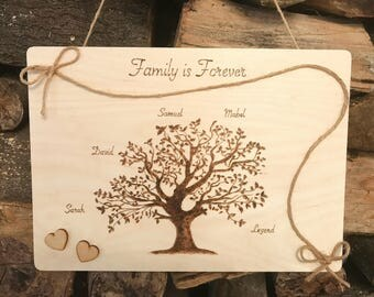 Family Tree Personalised Wooden Hanging Sign Plaque