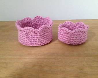Set of 2 cotton crochet baskets/House warming gift/Home décor