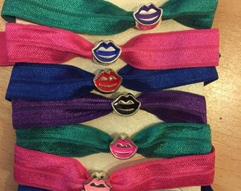 Mix and match colourful lip charm hair ties