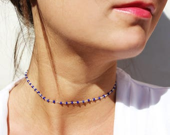 Sterling silver blue choker - stone necklace - electric blue necklace - thin necklace - delicate wedding jewel - stackable necklace - modern