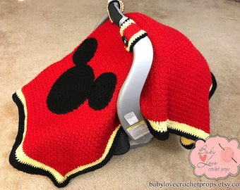 Disney Mickey Mouse Ears Inspired Infant Baby Car Seat Bucket Cover Canopy Tent