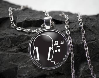 Headphones Glass Pendant music necklace dj jewelry headphones gift music pendant photo pendant art pendant photo jewelry glass jewelry
