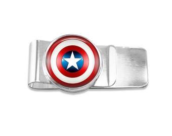 Captain America money clip superhero money clip marvel money clip wedding party gift mens money clip custom photo money clip groomsmen gift