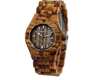 Wooden Mens Watch - Perm Zebra