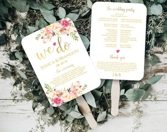 Wedding Program Fan Wedding Program Printable Wedding Programs Printable Template Ceremony Program Order Of Ceremony PDF Instant Download