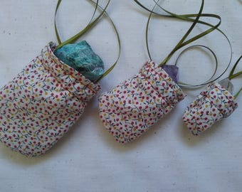 Pouch Necklaces (3) for crystals, trinkets, herbs, or charms. Pagan Essentials.