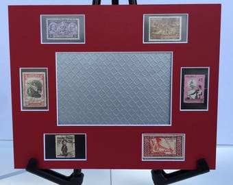 Women, 8x10 photo mat frame, gift for women, feminist art, vintage international postage stamps