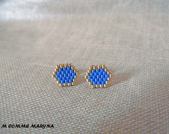 These Stud Earrings Miyuki beads woven handmade Bohostyle Bohochic Bohemian gold and violet blue