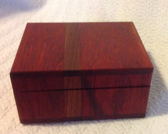 Padauk with African Mahogany Inlay Wooden Box with Lid