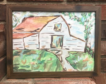 Hand Painted Watercolor Barn
