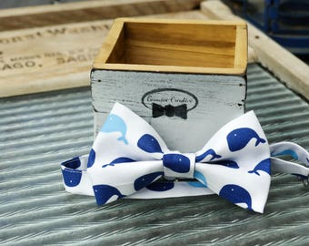 Whale Pattern Bow Tie Handmade
