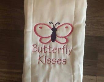 Butterfly Kisses burp cloth onesie bib tshirt