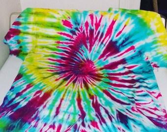 Rainbow spiral tie dye