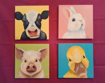 Nursery Farm Animal Portraits