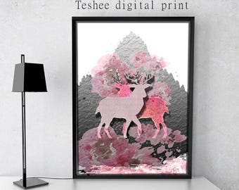Printable art, Digital print, Deer, Pink deer, Wall decor, Home decor