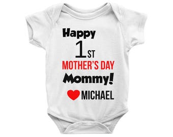 Personalized Happy 1st Mother's Day Mommy Onesie, First Mother's Day Bodysuit, One Mom's Day Onesie, Mother's Gift, Baby Onesie, Baby Shower