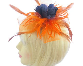 Orange mesh and feather fascinator clip, weddings, races, ladies day