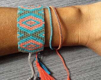 Pink Silver & Blue Friendship Tassel Detailed Bracelet