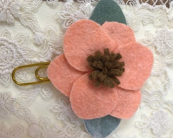 Peach felt  Flower For Planner