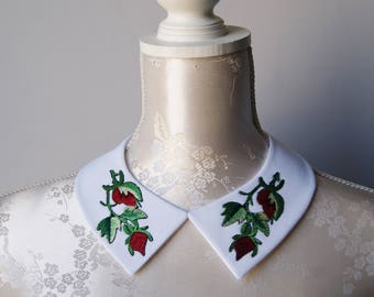 White collar necklace with embroidery patches red flowers detachable peter pan collar removeable accessories for women