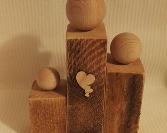 Family Holz sculpture decoration heart gift