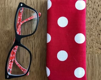 Red Polka dot cotton fabric padded eyeglass case