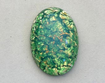 Vintage Glass Lampwork Cabochon Green Opal 25 x 18mm Oval