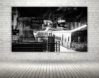 Vintage Black and White Train Station Print