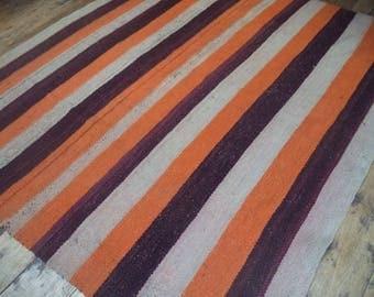 Peruvian vintage frazada, handwoven Andean rug, organic natural rug, frazada