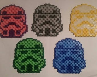 5 x Star Wars Stormtrooper 11x10cm beaded coasters pixel