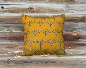 Buds throw pillow cover (mustard)