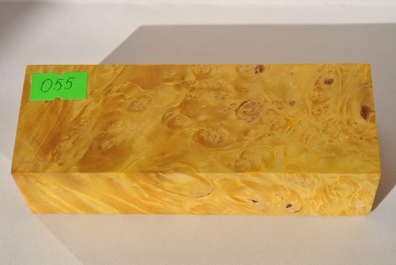 Stabilized maple wood burl block box woodturning blanks yellow