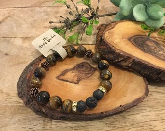Essential Oil Bracelet, Lava beads, Tiger eye beads, copper, silver