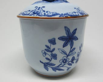 Swedish vintage light blue hand painted porcelain bowl with lid Ostindia East Indies Ostindiska Kompaniet Sweden Scandinavian gift Flowers