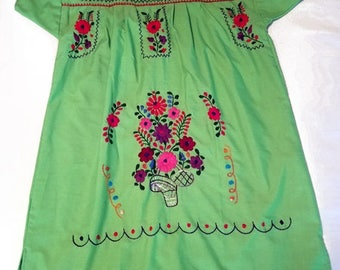 Medium - Lime Green (Short/Above Knee) Mexican Dress
