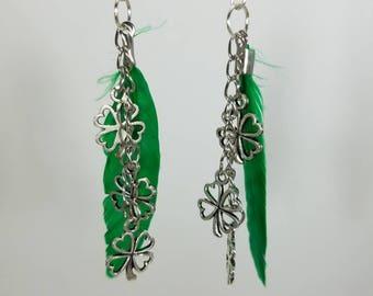 Green Feather, Clover, Irish dangle earrings