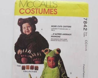 Frog or Bear, One Piece Toddler Halloween Costumes  McCall's 7842- Uncut