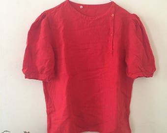 Vintage Linen Red Blouse