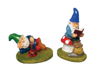 Pair of Lazy Garden Gnomes for Fairy Gardens and Dolls Houses