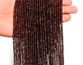 Natural Zircon Rondelle Beads | 3-4 mm Faceted Beads| 13 inch Strand | Natural Brown Zircon Semi Precious Roundel Beads | AAA Quality |